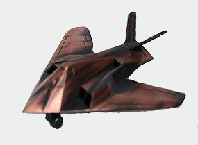 F-117 Stealth Fighter Metal Pencil Sharpener with early American bronze motif.