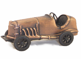 Antique Race Car Bronze Metal Pencil Sharpener